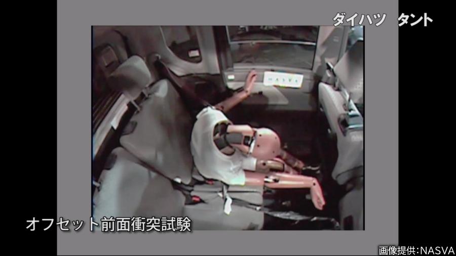 画像5。JNCAPの衝突安全性能評価試験のオフセット前面衝突試験では、運転席の男性型ダミーのほか、後席には女性型がセットされて衝撃の計測に使用される。