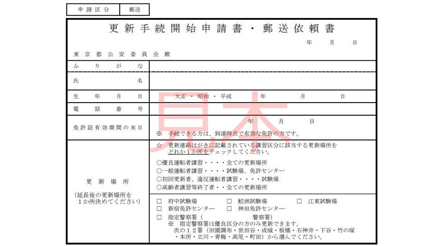 運転免許|休止|更新|延長|郵送|コロナウイルス|更新手続き開始申請書の見本