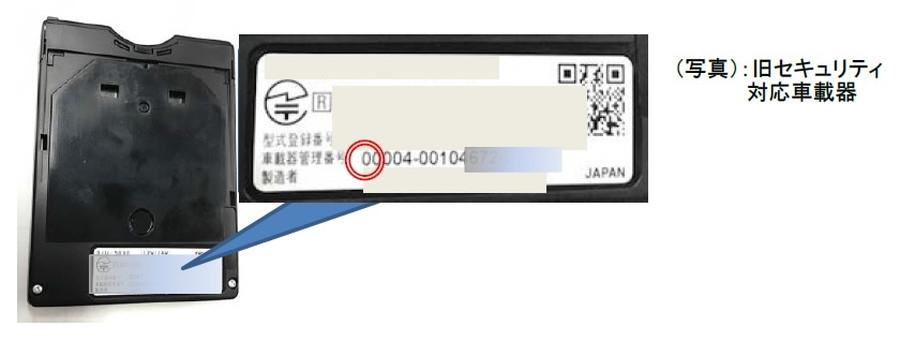 新旧セキュリティ対応車載器識別方法③:車載器本体の裏面に記載されている管理番号で確認する。
