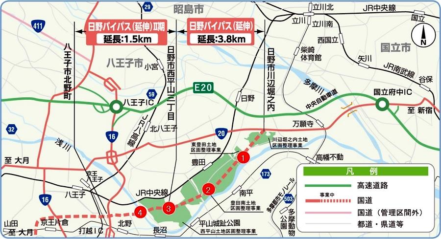 画像6。国道20号・新日野バイパスのルート拡大図。新日野バイパスのI期は東側で、II期は西側。相武国道事務所・公式サイトより。