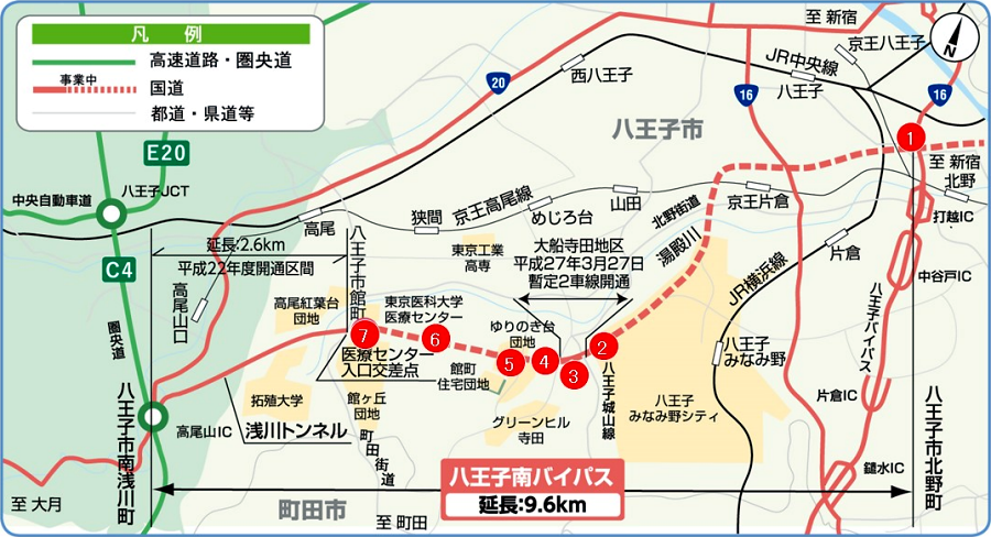 画像7。相武国道事務所が工事を進める八王子南バイパスのルート図。相武国道事務所・公式サイトより。