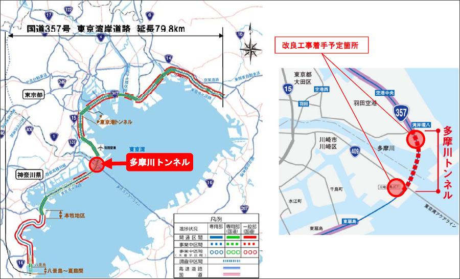 画像8。川崎国道事務所が担当する、国道357号東京湾岸道路の多摩川トンネルの建設。2020年2月6日発表のプレスリリース「国道357号 東京湾岸道路『多摩川トンネル』の準備工事に着手します」より。