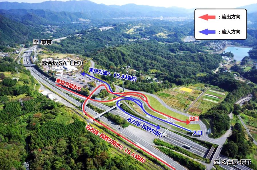 画像1。談合坂スマートICの流入と流出経路図。画像提供:NEXCO中日本