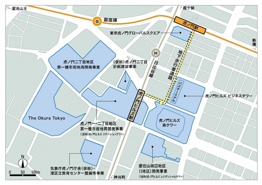 虎ノ門ヒルズ駅|開業|東京メトロ|日比谷線|乗換駅|虎ノ門ヒルズ駅の地下歩行者通路