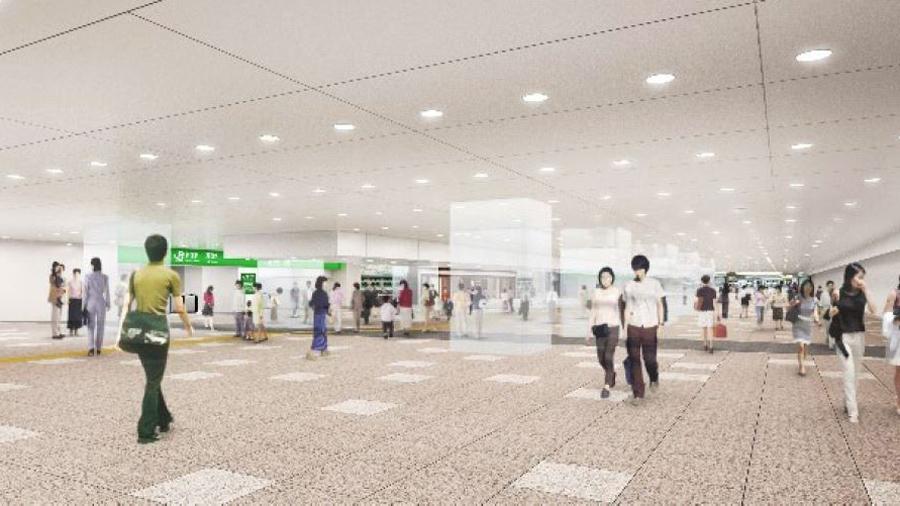 新宿駅|東西自由通路|東口|西口|北通路|東改札前のイメージ図
