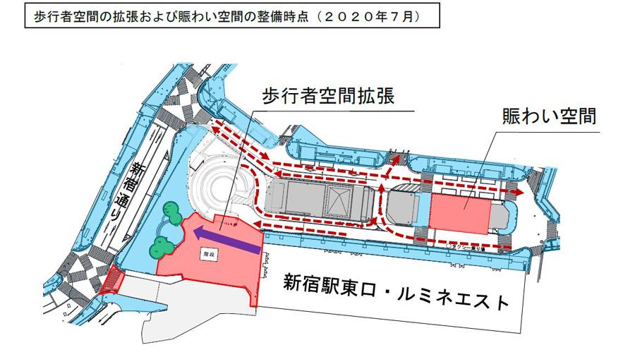 新宿駅|東西自由通路|東口|西口|北通路|整備後の東口駅前広場