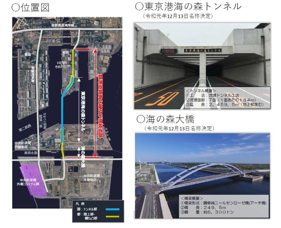 東京港臨港道路南北線及び接続道路の位置、「東京港海の森トンネル」「海の森大橋」の概要