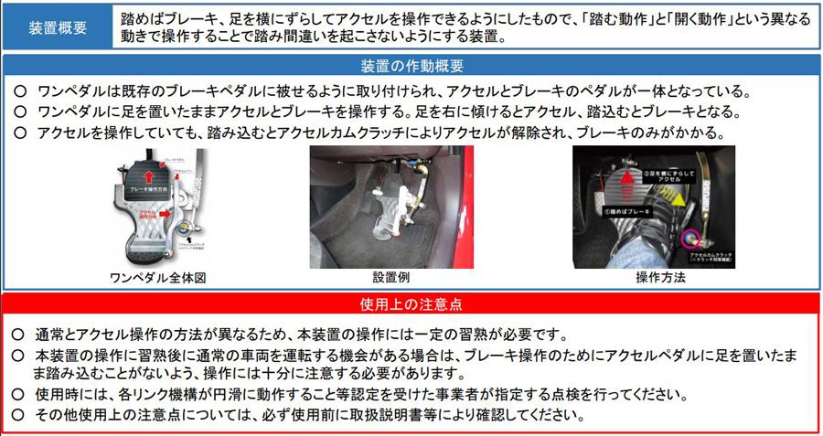 後付け|ペダル踏み間違い|急発進等抑制装置|国交省|ワンペダルの装置概要