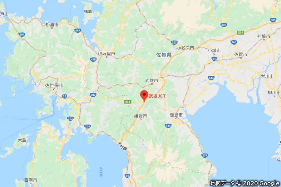 地すべりが発生したE34長崎道・武雄JCTの所在地。