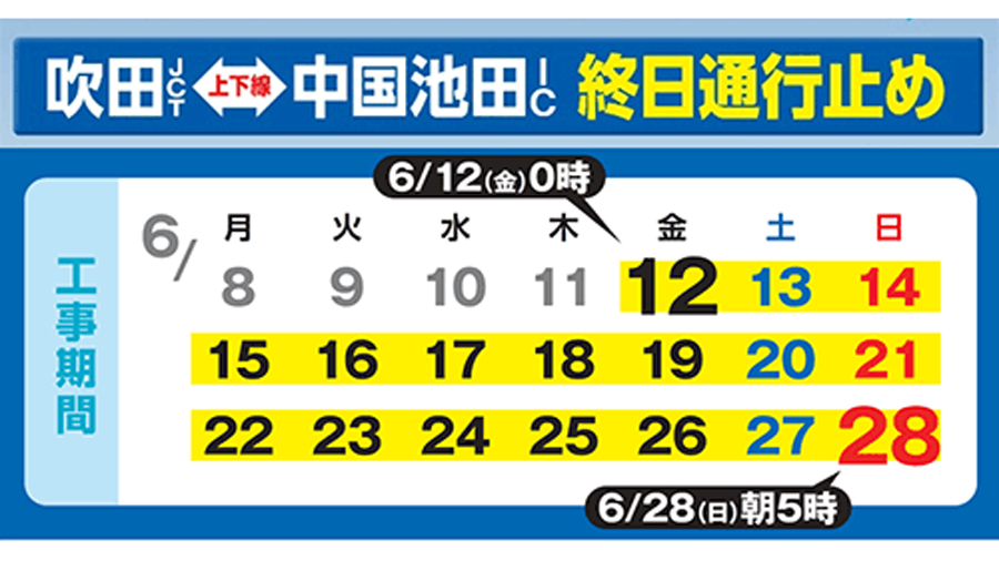 中国自動車道|吹田JCT~中国池田IC|通行止め|工事|日程カレンダー
