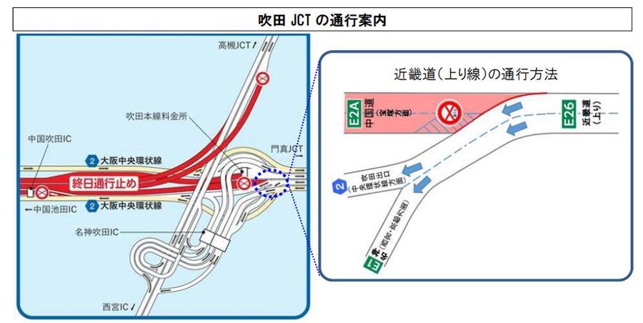 中国自動車道|吹田JCT~中国池田IC|通行止め|工事|吹田ICの通行方法