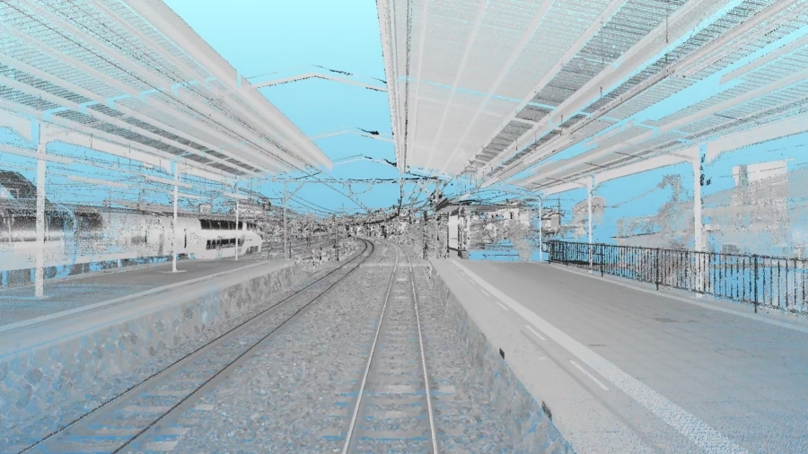 首都高の鉄道版「インフラドクター」の計測車両が、搭載したレーザースキャナーを用いて取得した3次元点群データ。伊豆急下田駅で実施された実証実験にて。画像提供:首都高技術株式会社