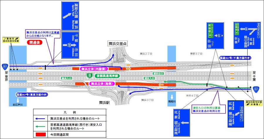6月28日(日)7時頃に開通が予定されている国道357号東京湾岸道路の舞浜立体の平面図。オレンジ色が舞浜立体。画像提供:首都国道事務所