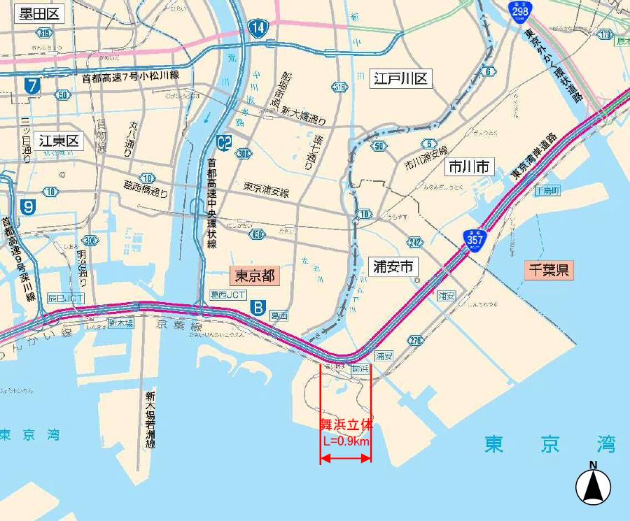 6月28日(日)7時頃に開通が予定されている国道357号東京湾岸道路の舞浜立体の所在地。画像提供:首都国道事務所