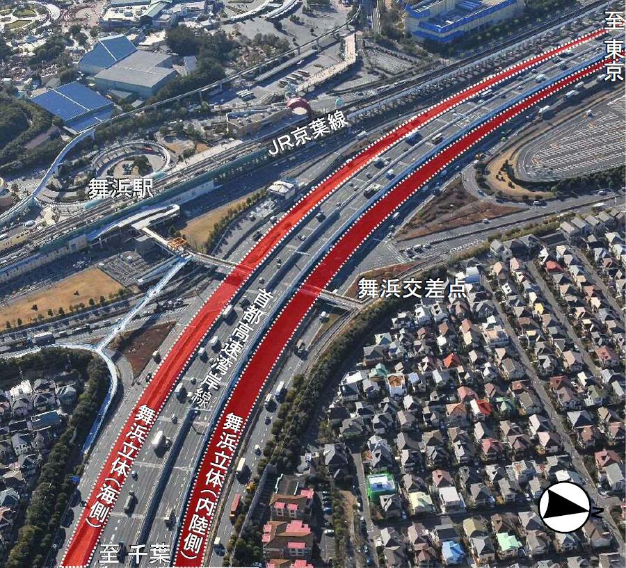6月28日(日)7時頃に開通が予定されている国道357号東京湾岸道路の舞浜立体の航空写真。画像提供:首都国道事務所