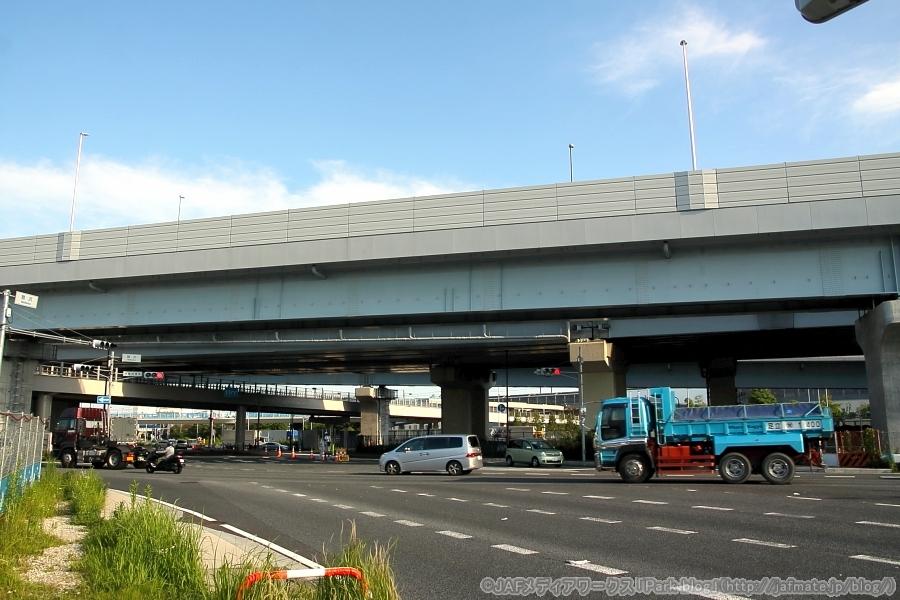 6月28日(日)7時頃に開通する予定の国道357号東京湾岸道路の舞浜立体(内陸側)。