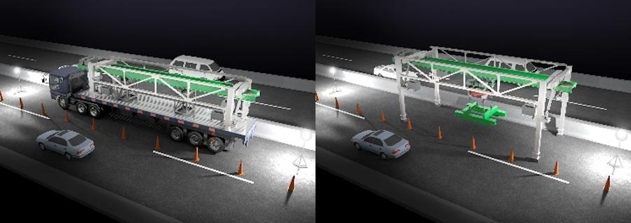 NEXCO中日本と大林組が開発した新工法で使用される移動式床版架設機(右)と、その運搬の様子(左)。画像提供:NEXCO中日本・大林組