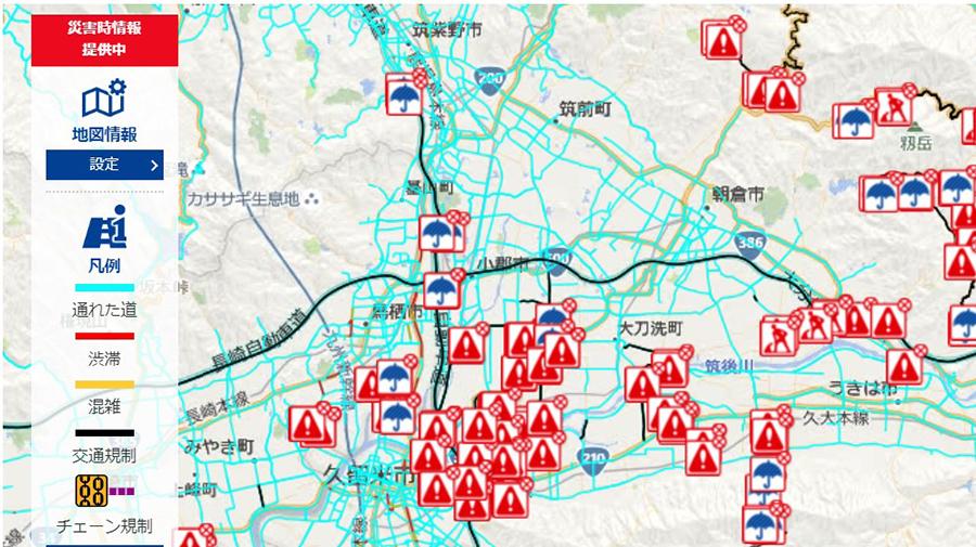 トヨタ「通れる道マップ」画面