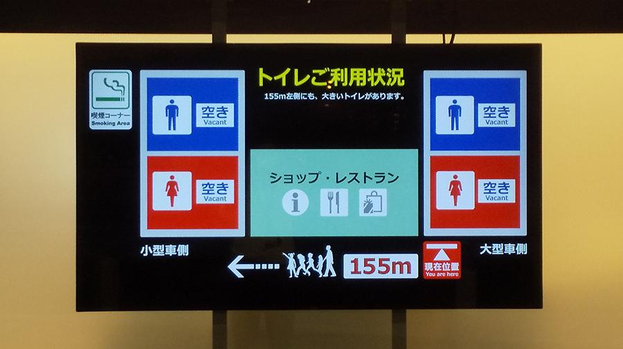 空き状況が分かりづらく行列ができていたトイレは、ひと目で満空状況のわかるように。
