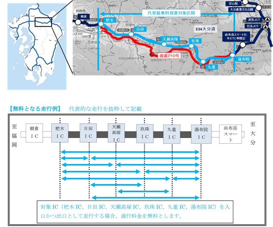 大雨 高速道路 通行止め 九州 中国 大分道 国道210号の代替無料措置