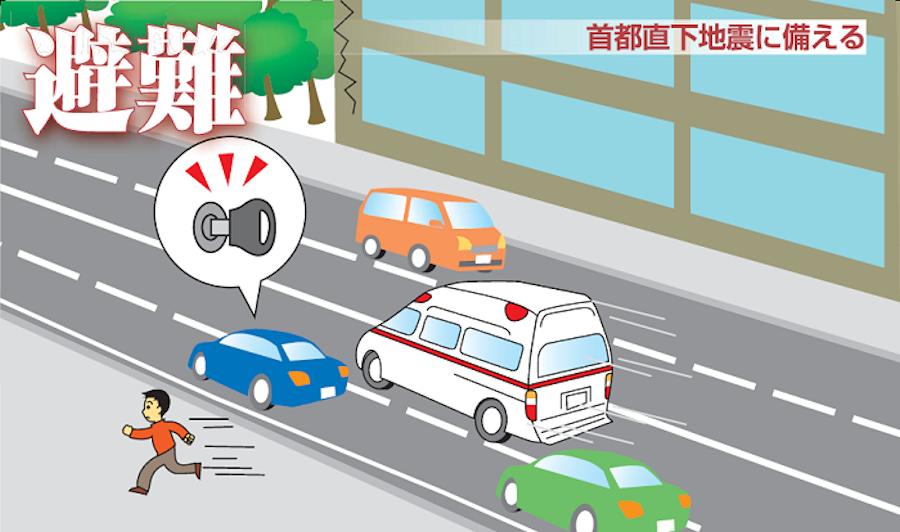 大地震発生時、ドライバーはクルマを安全に路肩に止め、周囲の安全を確かめてから徒歩で避難すること。出典:東京国道事務所ホームページ