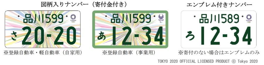 「東京2020オリンピック・パラリンピック競技大会特別仕様ナンバープレート」は軽自動車でも、図柄無しを選ぶと白ナンバーが取得できる。