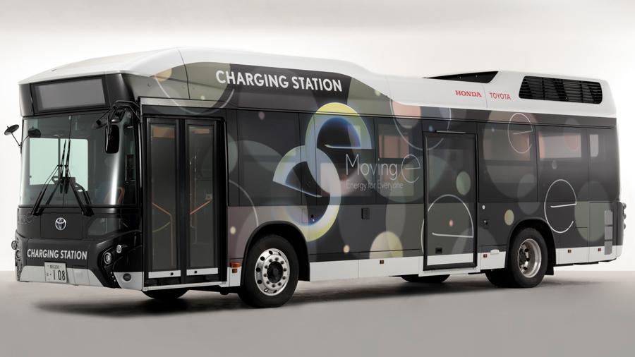 トヨタ|ホンダ|燃料電池バス|災害時の給電|燃料電池バス「CHARGING STATION」