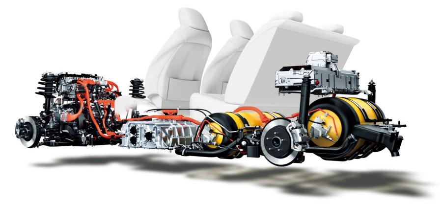 トヨタのFCV「MIRAI」の内部機構。シート下にあるのがFCスタックで、後部にある黄色いふたつの部品が高圧水素タンク。