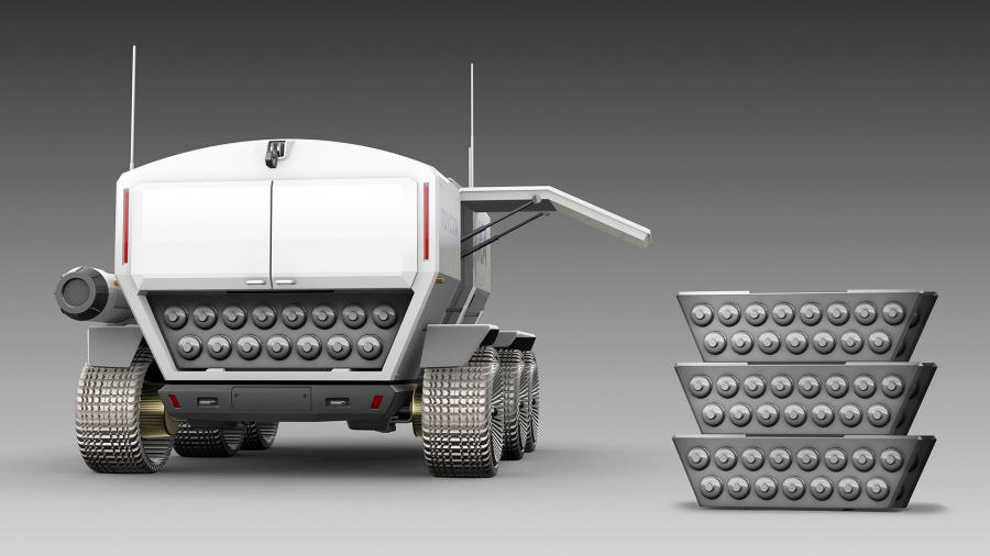 JAXA×トヨタ「ルナ・クルーザー」の燃料である酸素と水素はカートリッジ式で、車両後部から交換。
