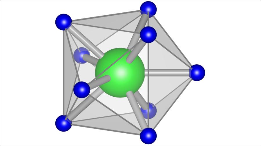 今回理論的に発見された、固体電解質の材料となる高水素配位錯イオンの「MoH9」。東北大学金属材料研究所の高木成幸准教授らの研究チームが発見した。画像提供:東北大学IMR/AIMR