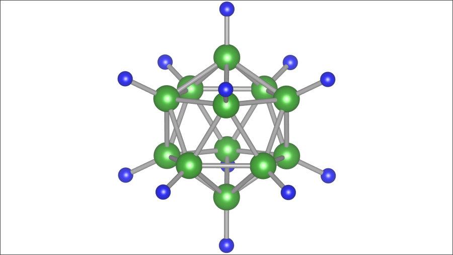 これまでの固体電解質の材料の錯イオンとして研究されてきた「B12H12」。画像提供:東北大学IMR/AIMR