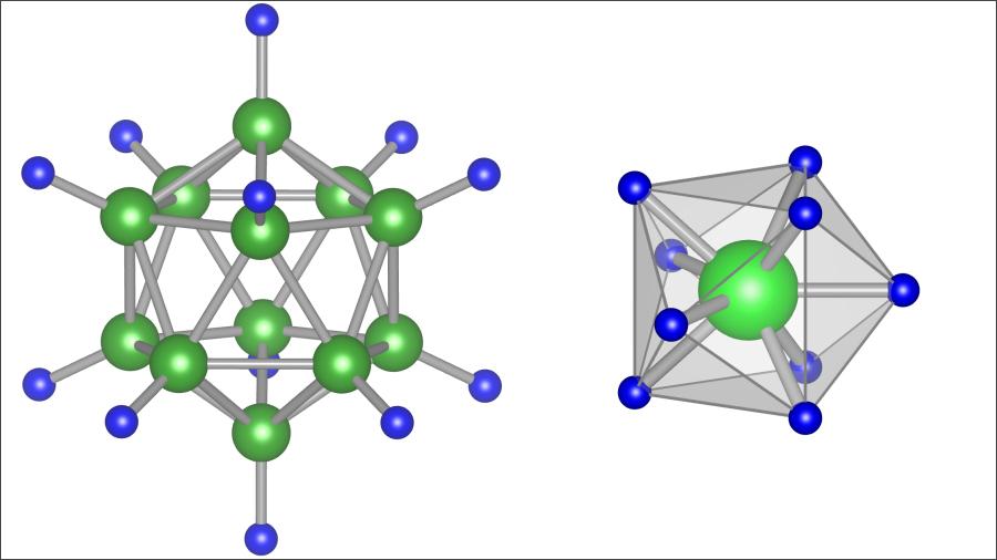 従来の固体電解質の材料である「B12H12」(左)と、今回発見された「MoH9」(右)。画像提供:東北大学IMR/AIMR