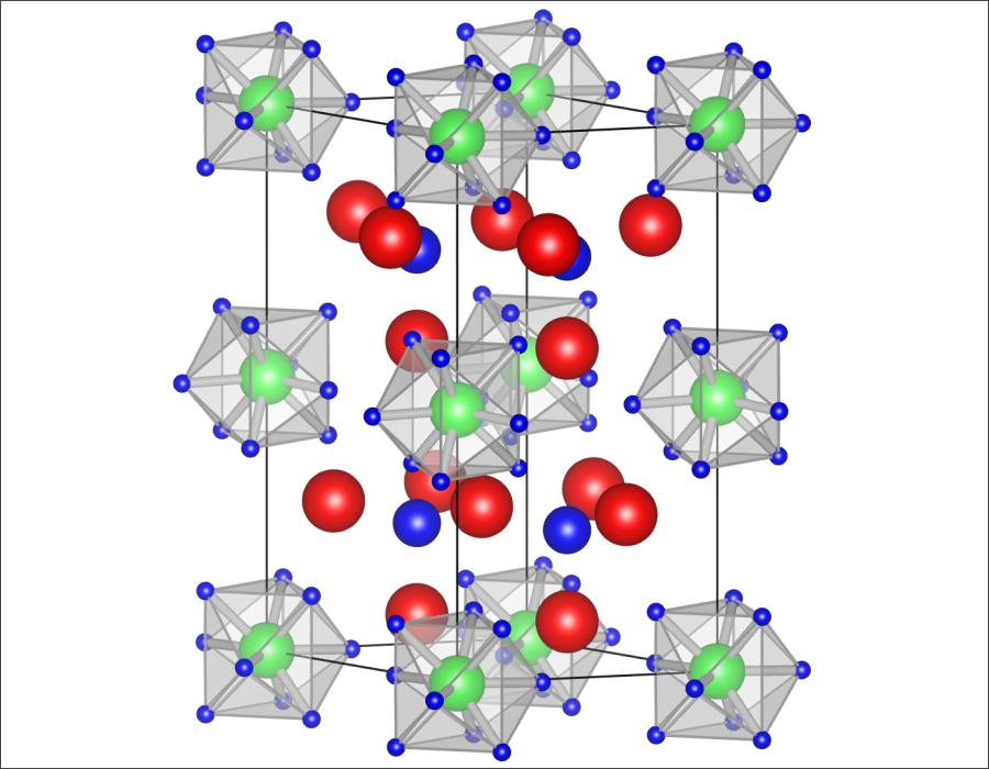 化合物「Li5MoH11」。5個のリチウム、1個のモリブデン、11個の水素で構成される。そのうちの核ともいえるのが錯イオン「MoH9」だ。画像提供:東北大学IMR/AIMR