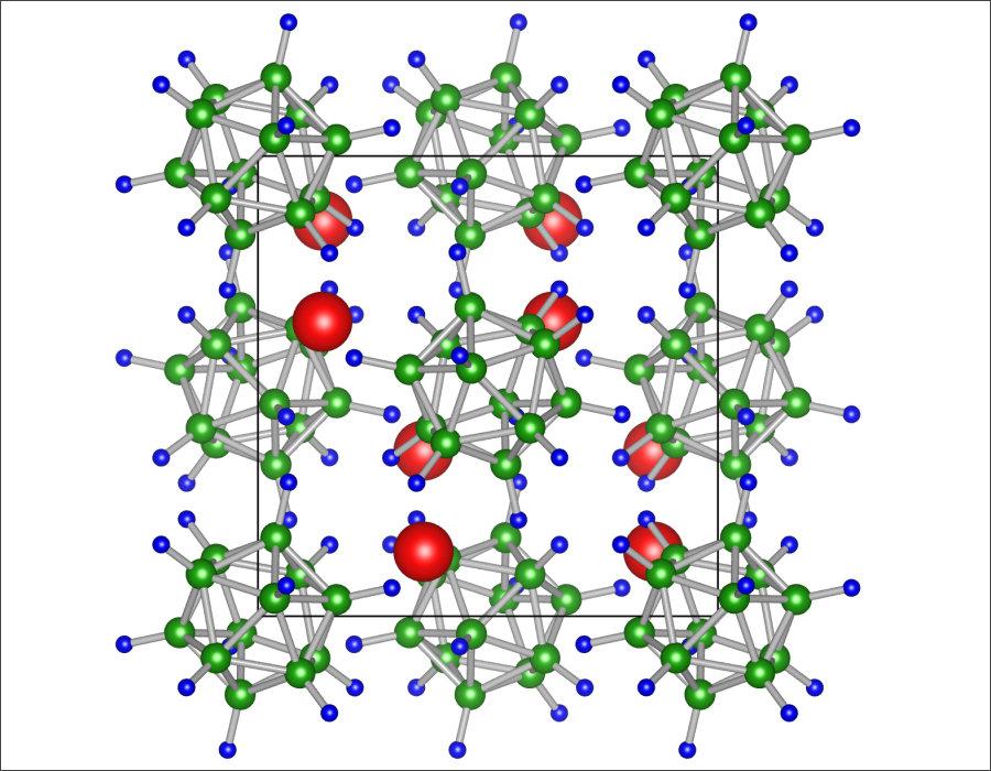 従来の固体電解質の化合物「Li2B12H12」。画像提供:東北大学IMR/AIMR