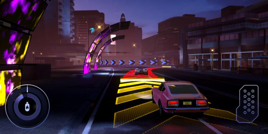 スマホ用レースゲーム「FORZA STREET」。スマホ版はコーナーでレコードラインとブレーキングポイントおよびそのリリースポイントが表示され、その通りにブレーキングできるかが勝負となる。(c) Microsoft Corporation.