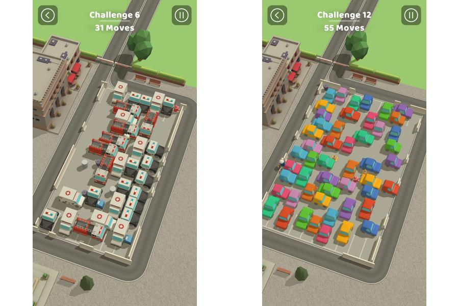 駐車場からすべてのクルマを退出させるパズルゲーム「Parking Jam 3D」。(c) Popcore GmbH