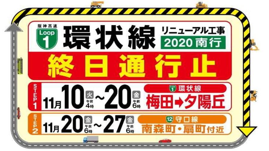 11月10日から「1号環状線リニューアル工事2020南行」が実施される。