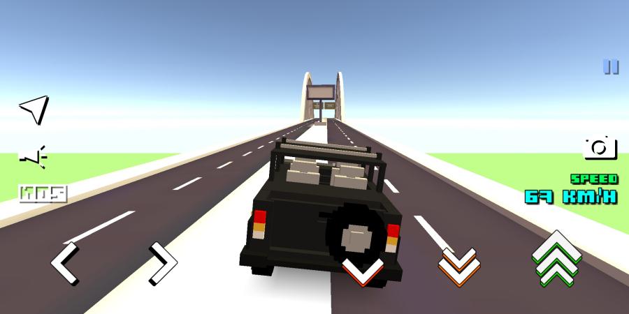 「Blocky Car Racer」。3つのモードがあり、街中を自由に走れるオープンワールドモードは自由自在に走れる。(c) mobadu