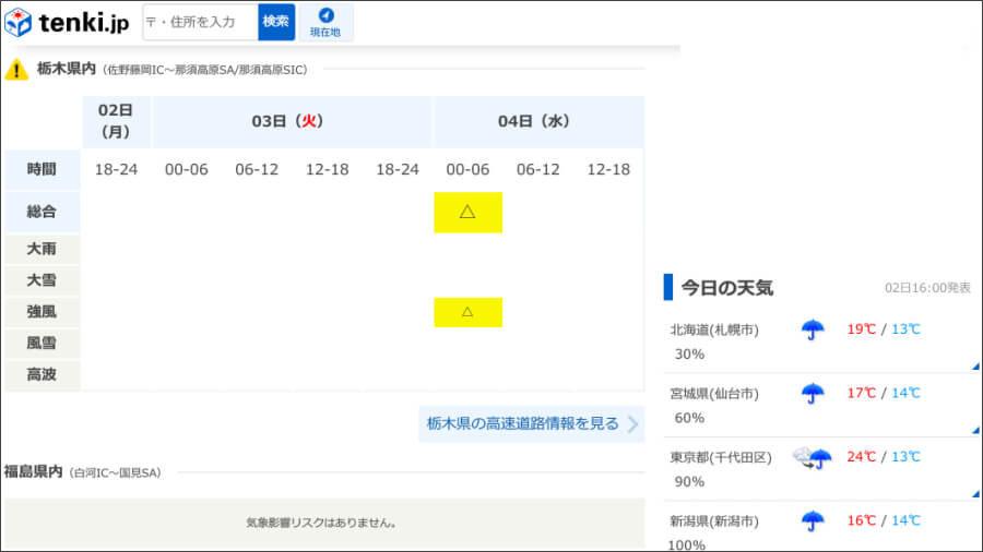 日本気象協会の無料天気予報サイト「tenki.jp」の「道路の気象影響予測」で、E4東北道の栃木県内区間である佐野藤岡IC~那須高原SA/同スマートIC間に強風のリスクがあるという表示。