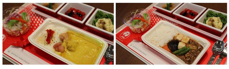「イエローチキンカレーアジアンスタイル」(左)、「牛肉と野菜の旨煮ごはん添え」(右)