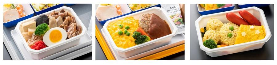 ANAが通信販売する機内食(冷凍):左から和食、洋食、お子様向けの一部例