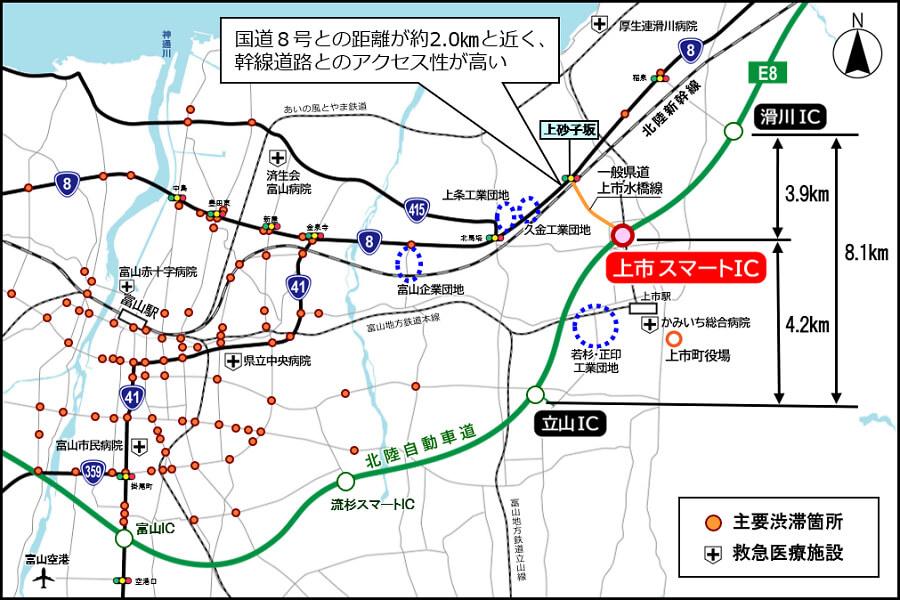 12月13日に開通するE8北陸道の上市スマートIC周辺の地図および富山県の広域図。
