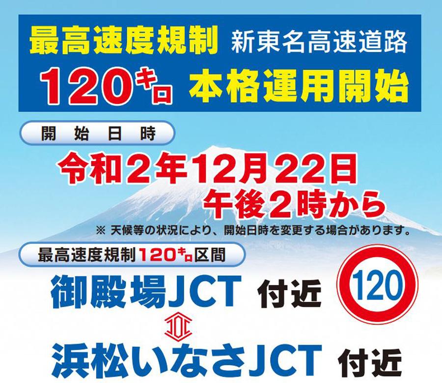 新東名 6車線化 時速120㎞ 御殿場JCT~浜松いなさJCT 静岡県警のリーフレットより引用