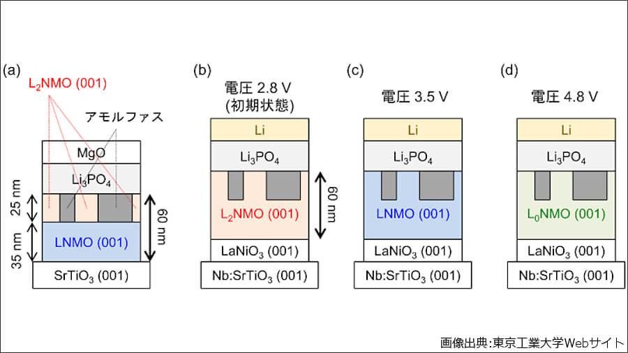 東京工業大学、東北大学、産業技術総合研究所、日本工業大学が共同開発した全固体電池における界面形成過程と充放電動作の概略図。