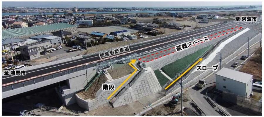 徳島県徳島市(徳島自動車道)の緊急避難場所整備例