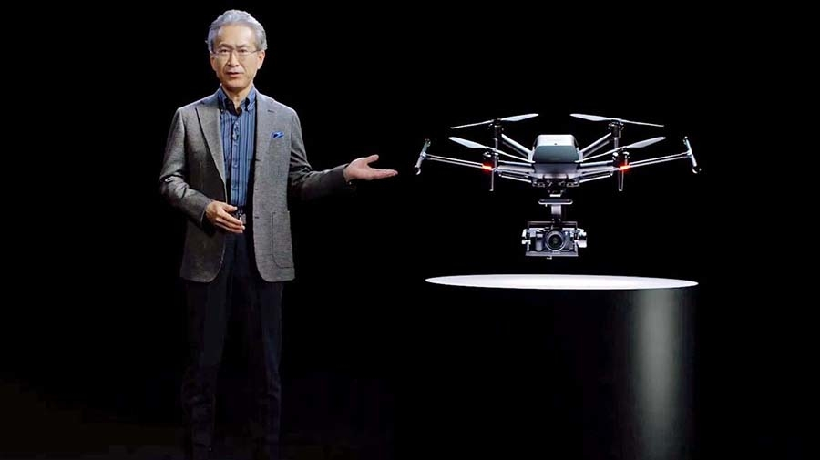 オンラインで開催されたCES2021でAirpeakを紹介するソニーの吉田憲一郎会長兼社長CEO(出典:ソニー)