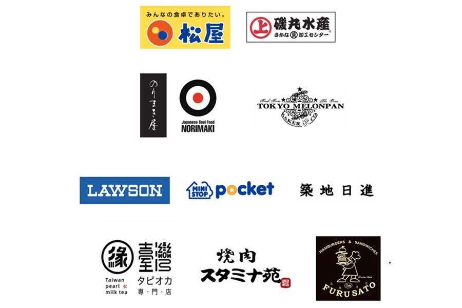 実証実験に参加した佃エリアにある10店舗。牛丼店やコンビニまで幅広い業種が参加した