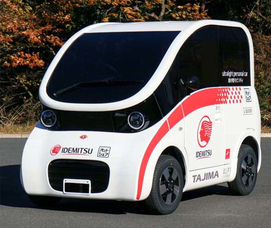 2019年開催の東京モーターショーに出展した、出光興産とタジマモーターの超小型EV試作車