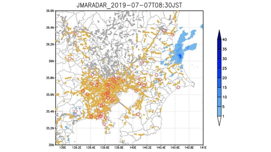 2019年7月7日8時30分のワイパーとウェザーリポートデータ