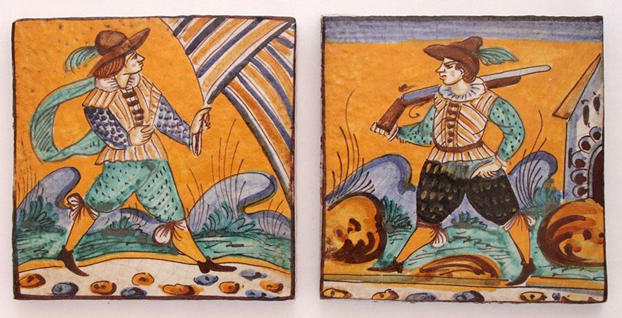 アルレッキーノを描いた例。フィレンツェ郊外モンテルーポ・フィオレンティーノの絵付け陶器タイルから。